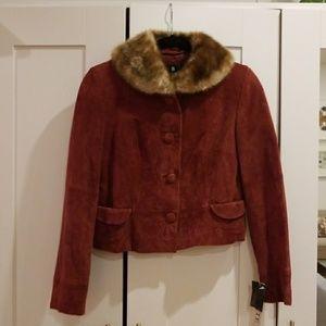Vintage Style Burgundy Suede Faux Fur Jacket